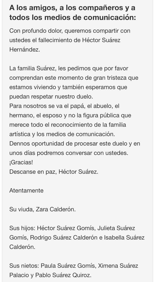 QEPD HÉCTOR SUÁREZ. ABRAZO GRANDE @PelonGomis