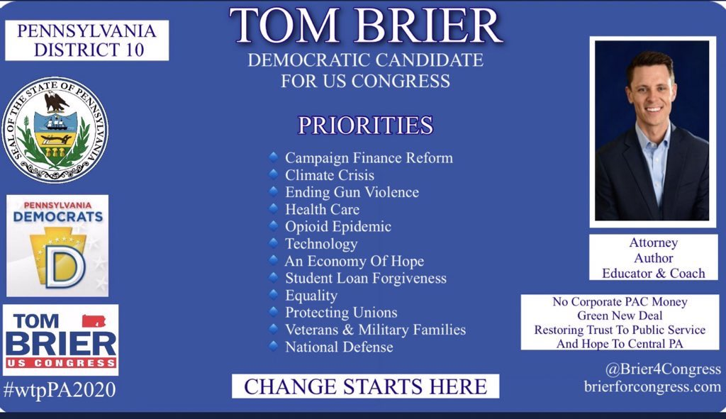 @Brier4Congress  Hey Pennsylvania! This is our day!! #GoVote blue to help make the much needed changes we need in PA!!   #PA10 #wtpPA2020  @wtp__2020