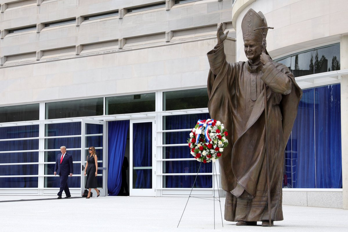 @realDonaldTrump and First Lady @FLOTUS visit the Saint John Paul II National Shrine in Washington, D.C.