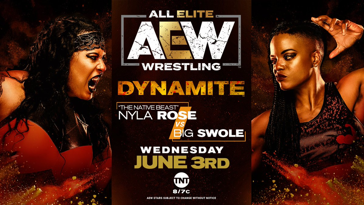 Tomorrow night on Dynamite - The returning @SwoleWorld takes on your former #AEW Women's World Champion 'The Native Beast' @NylaRoseBeast in singles action.  Watch #AEWDynamite every Wednesday night on @TNTDrama 8e/7c or  for our Intl fans. @AEWonTNT