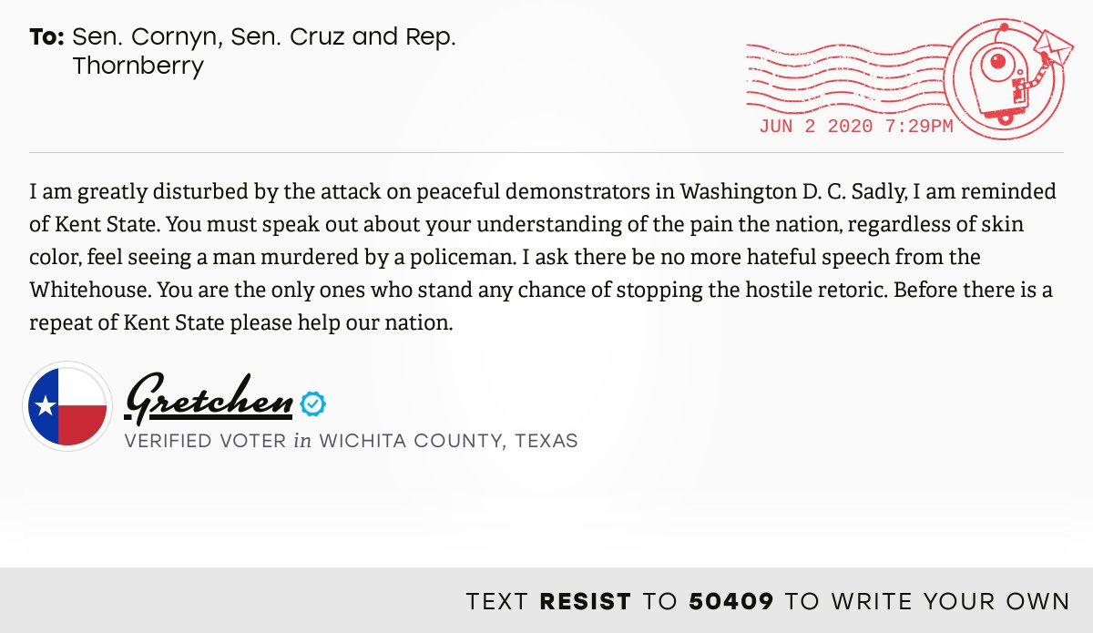 📬 I delivered this ✉️ from Gretchen, a 🗳 verified voter in Wichita Falls, Texas, to @JohnCornyn, @SenTedCruz and @MacTXPress #TX13 #TXpolitics  📝 Write your own: