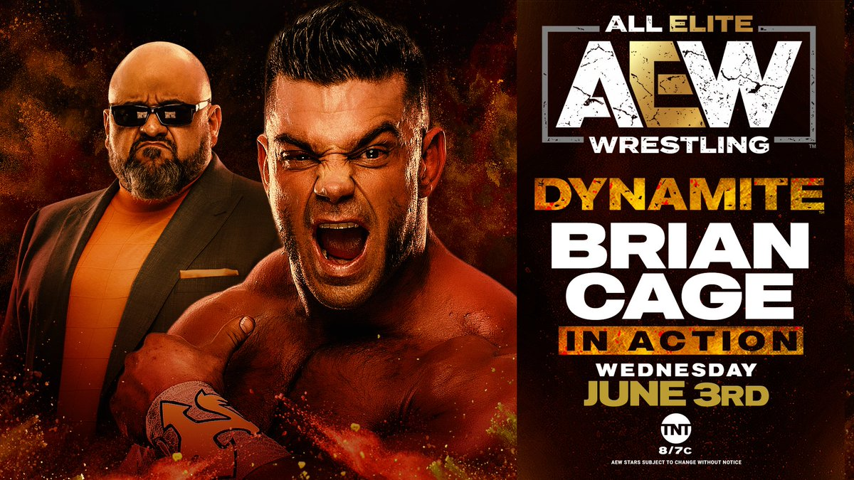 """Who can stop the path of Cage! """"The Machine"""" @MrGMSI_BCage with @OfficialTaz in his corner will be in action tomorrow night!  Watch #AEWDynamite every Wednesday night on @TNTDrama 8e/7c or  for our International fans. #AEWonTNT @AEWonTNT"""