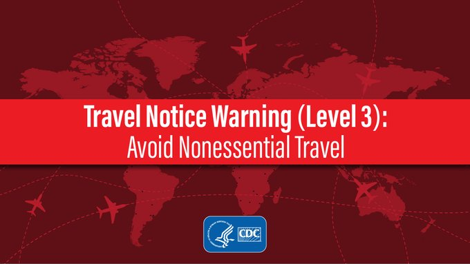 CDC continues to advise travelers to avoid all nonessential international travel. Travel increases your chances of getting and spreading #COVID19. Learn more: