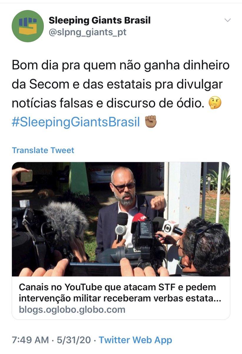 """@allantercalivre @alexandre Cuidado Allan com a Sleeping Giant Brasil - uma mídia liberal ativista.#AntifaTerrorist @slpng_giants_pt  ELES FAZEM AMEAÇAS, SÃO ANÔNIMOS E COVARDES E AINDA ROTULAM COMO """"FAKE"""" TUDO O QUE É CONSERVADOR E CARO AOS VALORES DAS FAMÍLIAS BRASILEIRAS!!Fotos 👇🏼#FechadoComBolsonaro"""