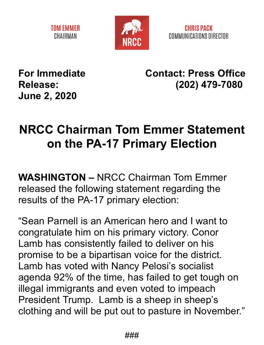 NRCC Chairman @tomemmer's statement on tonight's #PA17 Primary Election: