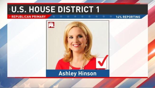 BREAKING: @hinsonashley wins District 1 GOP primary, setting up head to head with Democrat Congresswoman. @Abby4Iowa