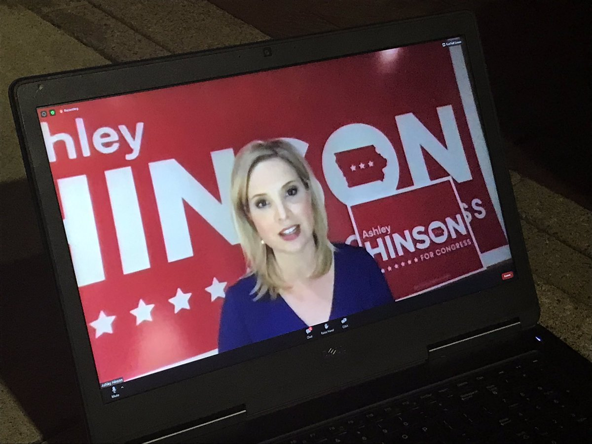Happening now: @hinsonashley says she is proud to be the Republican Nominee for U.S. House Iowa District 1. @iowasnewsnow