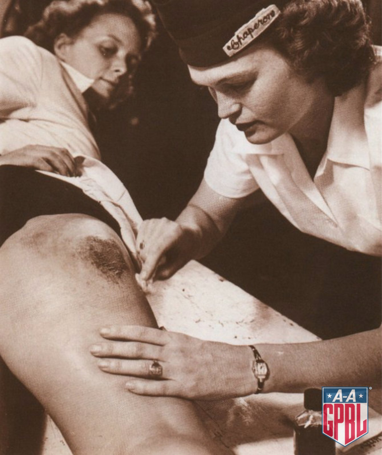 """""""The players would get 'strawberries' (bruises) on their legs from sliding in the skirted uniforms, but chaperones taped them up and they'd play again.""""  -Helen Callaghan, Ft. Wayne Daisies #AAGPBL https://t.co/SAyknDiQbq"""