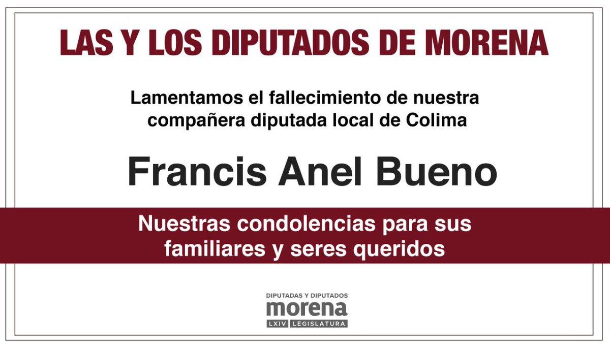 Condenamos el secuestro y asesinato de nuestra compañera diputada local Francis Anel Bueno Sánchez. Exigimos a las autoridades que se investigue el caso y se haga justicia.  Nuestras condolencias con sus familiares y seres queridos.