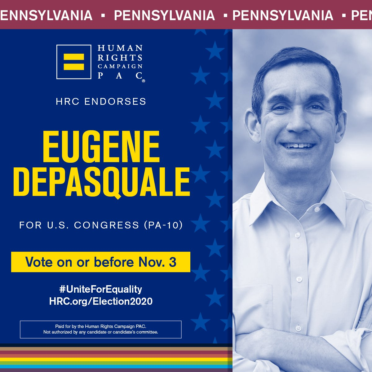 Throughout my career I've used my platform to speak up for and defend the rights of LGBTQ PA'ians. No one should be discriminated against because of who they are or who they love. I will continue to fight for full equality and I'm proud to have @HRC's support in this race. #PA10