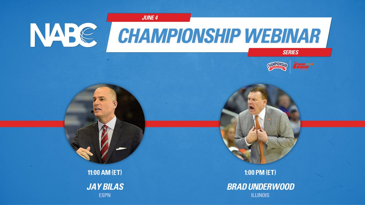 Coming up today on the NABC Championship Webinar series ⬇  🏀 @JayBilas (11:00 ET) 🏀 @CoachUnderwood (1:00 ET)  Register ➡