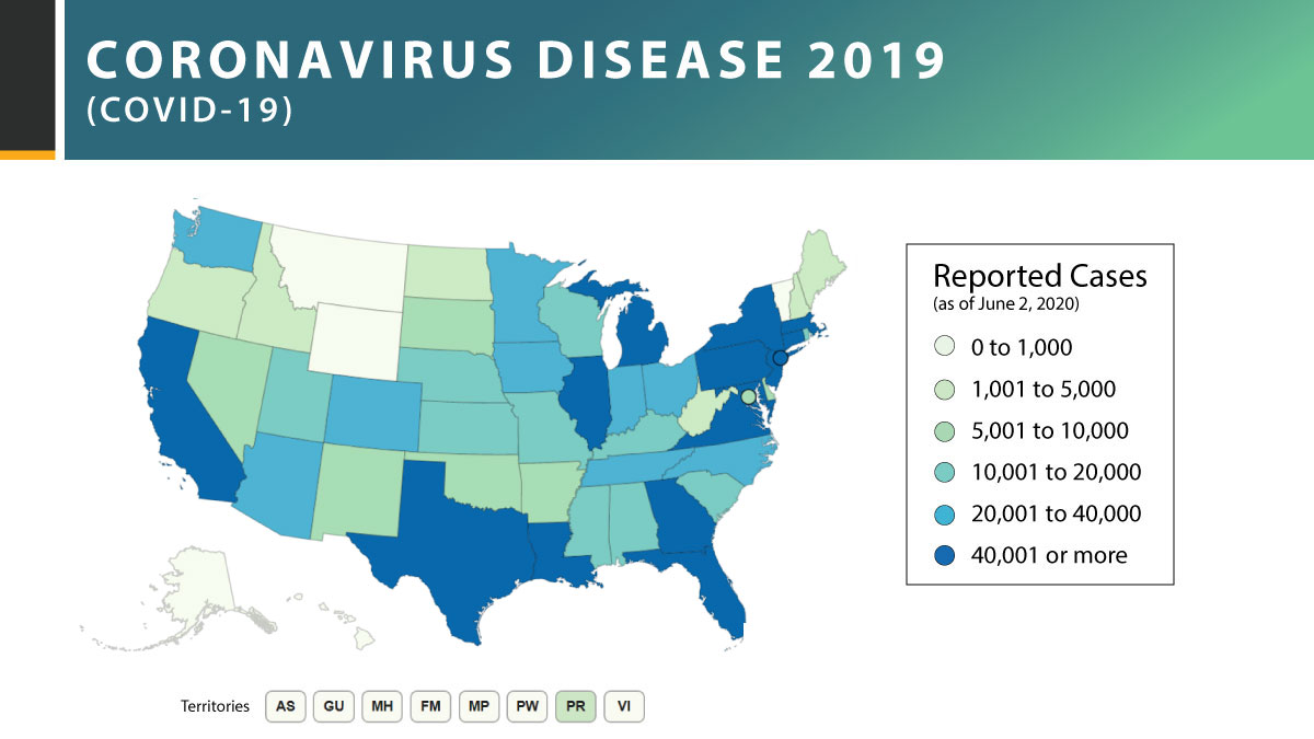 As of June 2: More than 1.8 million #COVID19 cases have been reported in the U.S., with 34 states and jurisdictions reporting more than 10,000 cases. Continue to help slow the spread by staying home when sick and washing your hands often.