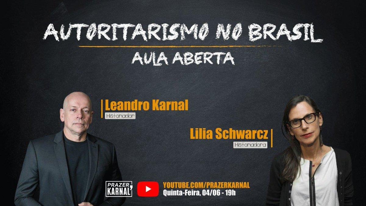 Amanhã, quinta, 19 h, teremos mais do que uma live! Será uma aula aberta com a professora @liliaschwarcz. O tema? Autoritarismo no Brasil.  Será um prazer!