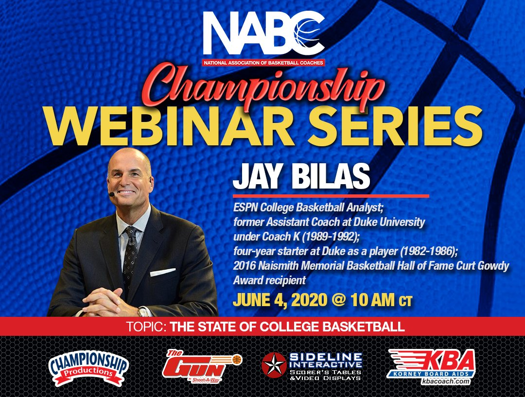 Happy Thursday! Today, @JayBilas and @CoachUnderwood join us once again on the NABC Championship Webinar Series. Bilas will be speaking on the state of college basketball at 10 a.m. CT and Underwood will break down his man-to-man D at noon CT.  Join us: