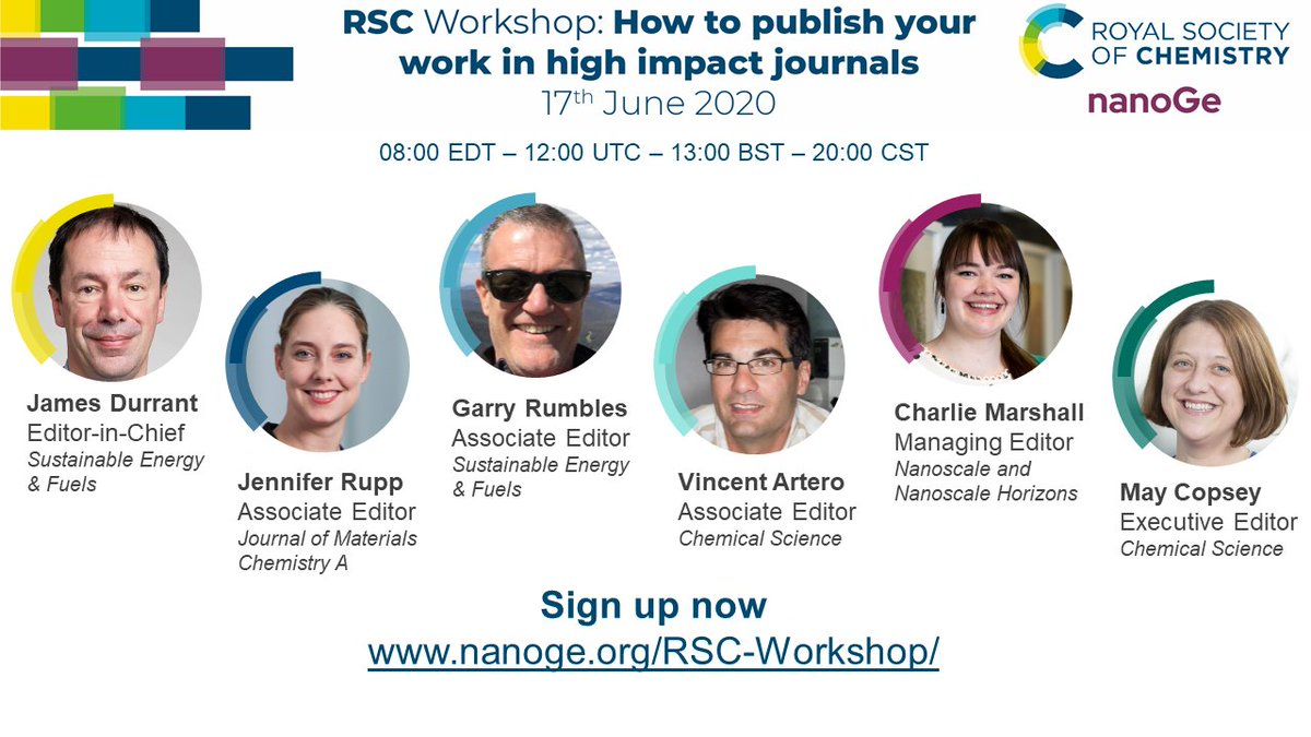 Registration now open: Join us on 17 June for a special @RoySocChem workshop on how to publish in high impact journals. @ChemicalScience Assoictae Editor Vincent Artero is part of the panel along with our Editor @MayCopsey 😃  Register here for free: