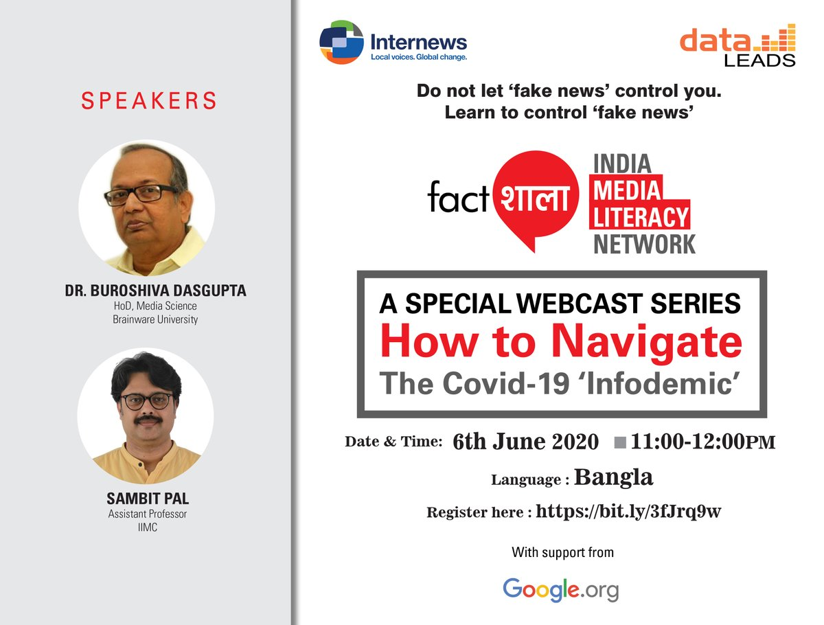 Join me and @buroshiva on Saturday at 11 am to discuss how to deal with #misinformation #fakenews as part of @Fact_Shala India Media Literacy Network. Register here:  @data_LEADS @Internews #COVID19