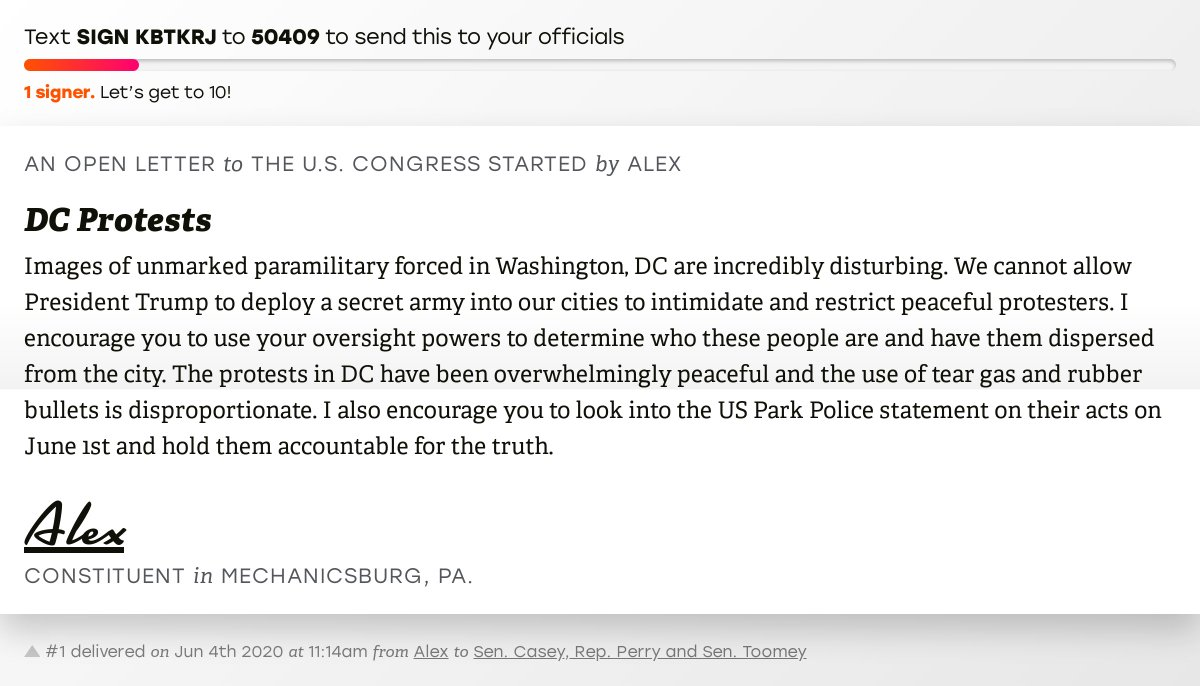 """🖋 Sign """"DC Protests"""" and I'll deliver a copy to your officials:   📨 Last delivered from Alex to @SenBobCasey, @RepScottPerry and @SenToomey #PA10 #PApol"""