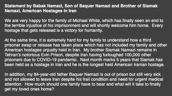 """""""Every hostage that gets released is a victory for humanity. At the same time, it is extremely hard for my family to understand how a third prisoner swap or release has taken place which has not included my family..."""" -Babak #Namazi #FreeTheNamazis"""