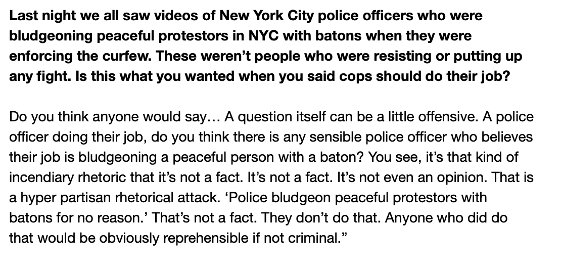 Full transcript of the question to @NYGovCuomo about police using batons last night: