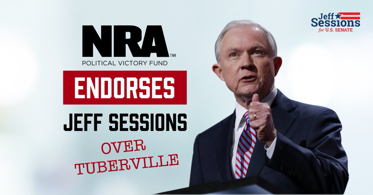 """""""Based on your strong leadership on Second Amendment issues as a U.S. Senator and U.S. Attorney General, you have earned the highest attainable rating, an A+ from NRA-PVF."""" - @NRAPVF"""