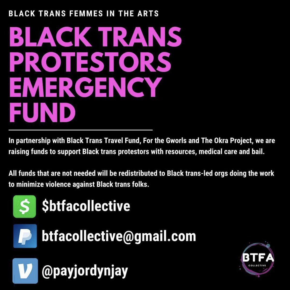 Today I am donating to BTFA collective, donate if you can, even a little bit helps ❤️