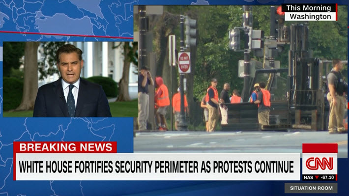 """Media: @Acosta to @wolfblitzer: """"The @realDonaldTrump admin. is building what increasingly looks like a fortress around the @WhiteHouse. This morning, crews began extending metal fencing, a steel wall ... giving this area the look of something out of an authoritarian country."""""""