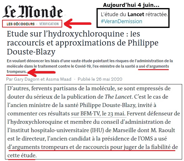 Le 26 mai, les @decodeurs du @lemondefr publient cet article et prennent parti pr l'étude du #Lancet.   Les @decodeurs s'autoproclamant Instance n°1 ds la recherche des fakenews(payé par FaceBook)se trompent com jamais pr avaliser la fake du Lancet. Honteux