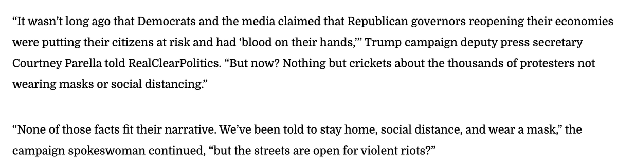 """Trump Campaign: """"We've been told to stay home, social distance, and wear a mask, but the streets are open for violent riots?"""""""