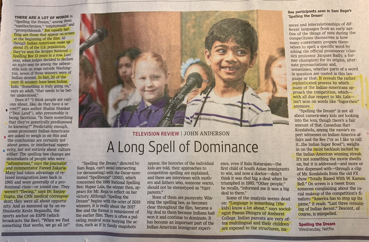 "While reviewing the #Netflix  Doc #SpellingtheDream in @wsj John Anderson brings up multilingualism as a factor behind the success of American kids of #Indian origin the #CNN journos of 🇮🇳origin manage ""adventurous"" & not ""fleeing"" as the parental attributes behind the successes"
