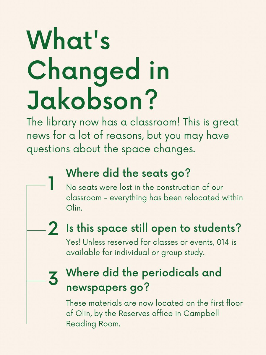 test Twitter Media - A lot has changed on campus since last year, including the Jakobson room in Olin! Here are the answers to some questions you may have about this newly renovated space. https://t.co/yudE7THQo1