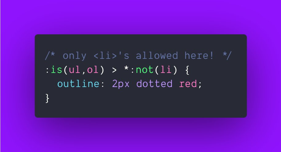 #lintHTMLwithCSS   this selector hunts for lists that have something other than an <li> inside https://t.co/J6leEiXRV4