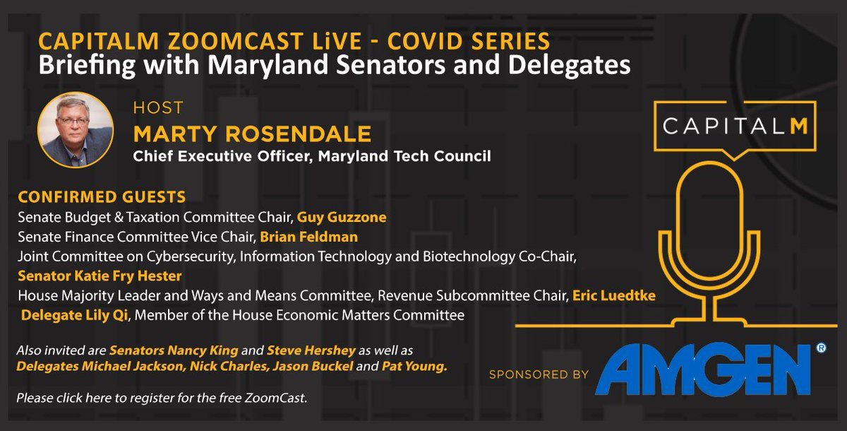 Join us on 6/25 at 1:00PM for the next CapitalM ZoomCast Live: Briefing with Maryland Senators and Delegates. Learn more and RSVP here:  Sponsored by @Amgen