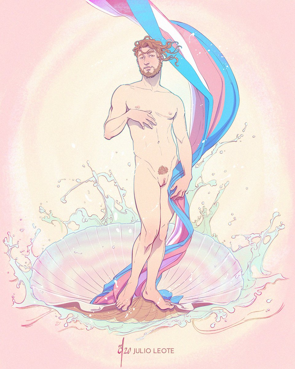 ~the Birth of Venus as a Boy~ To Celebrate with Pride the Joy of Living and Being Who We Are 🌈HAPPY PRIDE MONTH🌈 #PrideMonth #LGBTQ #LGBTPrideMonth #transpride #transman #transmale #gayillustration #gayart #PrideMonth2020 #TransLivesMatters #birthofvenus #venus #LoveIsLove