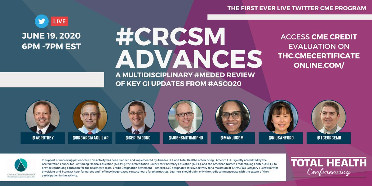 @nanudasmd @alan_burguete @dr_m_tejani @micheal_overman @DrNJMcCleary @mending_stories The first ever LIVE Twitter #CME is happening tonight. We challenge you to tag 10 friends you think will benefit from this multidisciplinary #MedEd review of key GI Updates from #ASCO20 #CRCSM