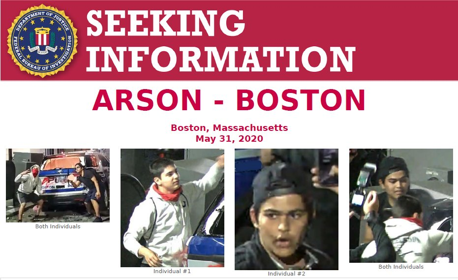 Can you help @FBIBoston @bostonpolice @BostonFire identify these two individuals who may have information relating to the vandalism & arson of a Boston Police Department cruiser on 5/31/2020? Call 857-386-2000 or email