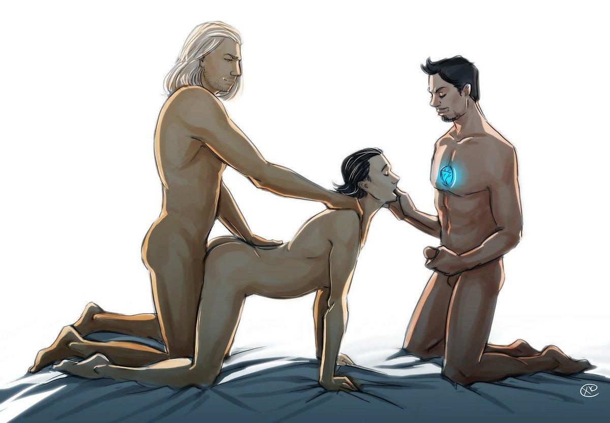 #AvengersYaoi #GayThreesome #Threesome #trio #yaoi #bara #gaycomic #gay #thorki #thorxloki #thor #loki #ironman #tonystark
