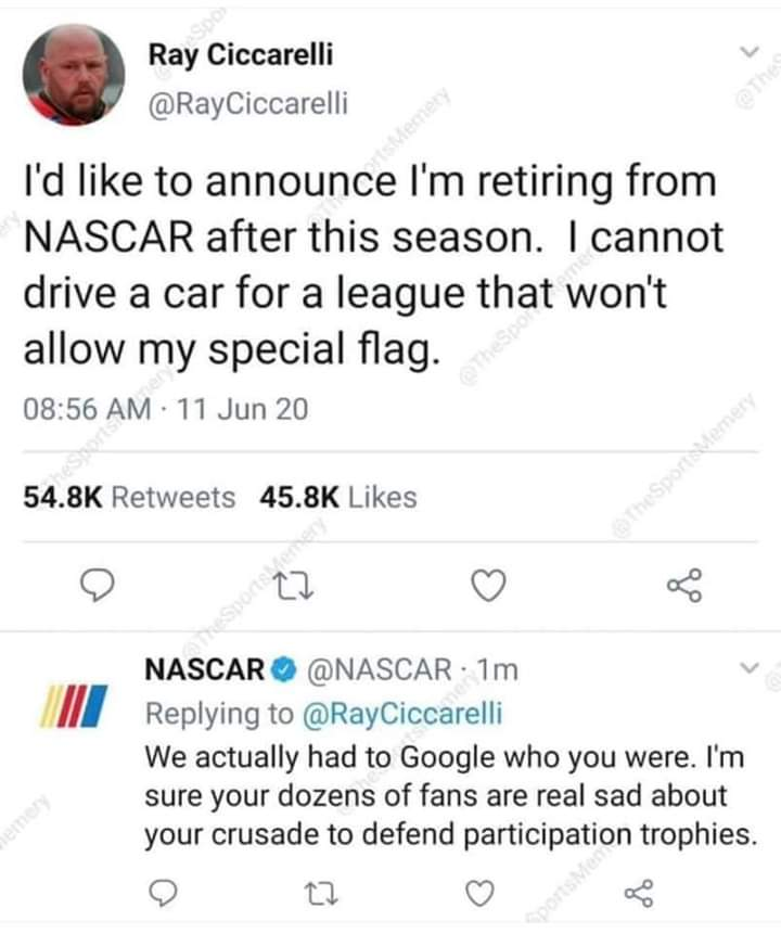 Click on the image to see what NASCAR replied to him 😂😂😂😂😂😂😂😂😂😂