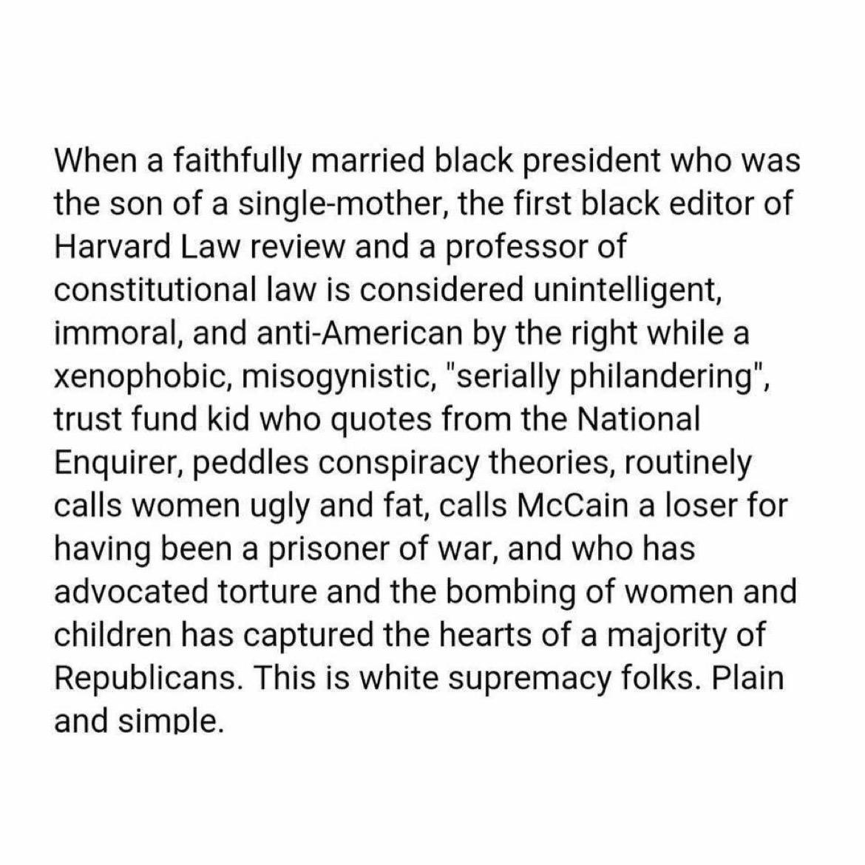 White supremacy, plain & simple!