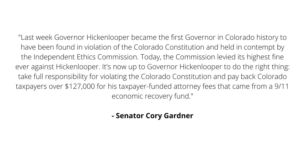Read my full statement on Hickenlooper's ethics violations:
