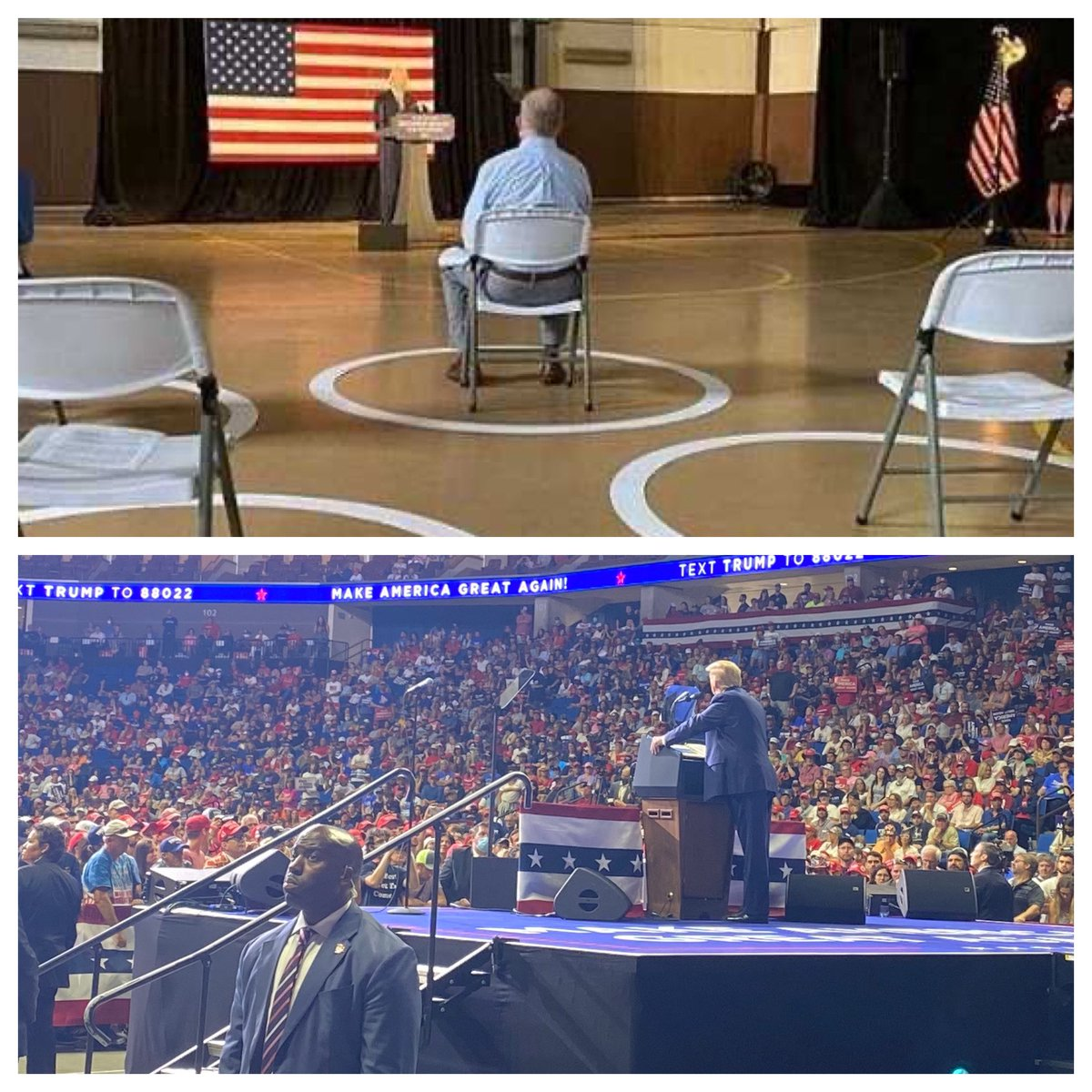 Some dishonest media will go out of the way to say arena wasn't full... weeks of fearmongoring, protestors on the ground... and our rally compared to Biden's is NOT EVEN CLOSE! Tens of thousands showed up to support FOUR MORE YEARS of @realDonaldTrump