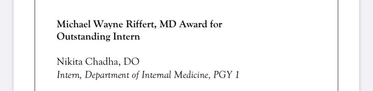 What an honor to receive this award! Thanks to @VCU_IMRes for a fantastic intern year with all of my co-residents and attendings! Looking forward to a great PGY 2 year!