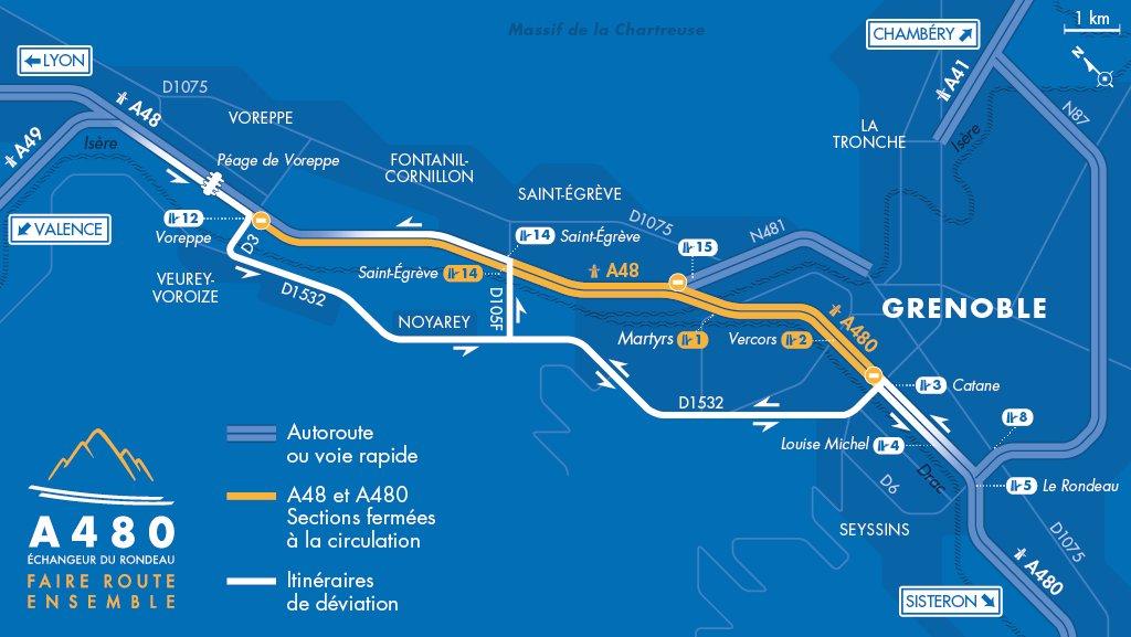 🚧 Fermetures #A480 et #A48 cette semaine  L'A480 et l'A48 seront fermées les nuits du 15 au 17 juin :  - En allant vers Sisteron : entre Voreppe (n°12) et Catane (n°3) - En allant vers Lyon : entre Catane (n°3) et Saint-Égrève (n°14)  Plus d'infos sur :