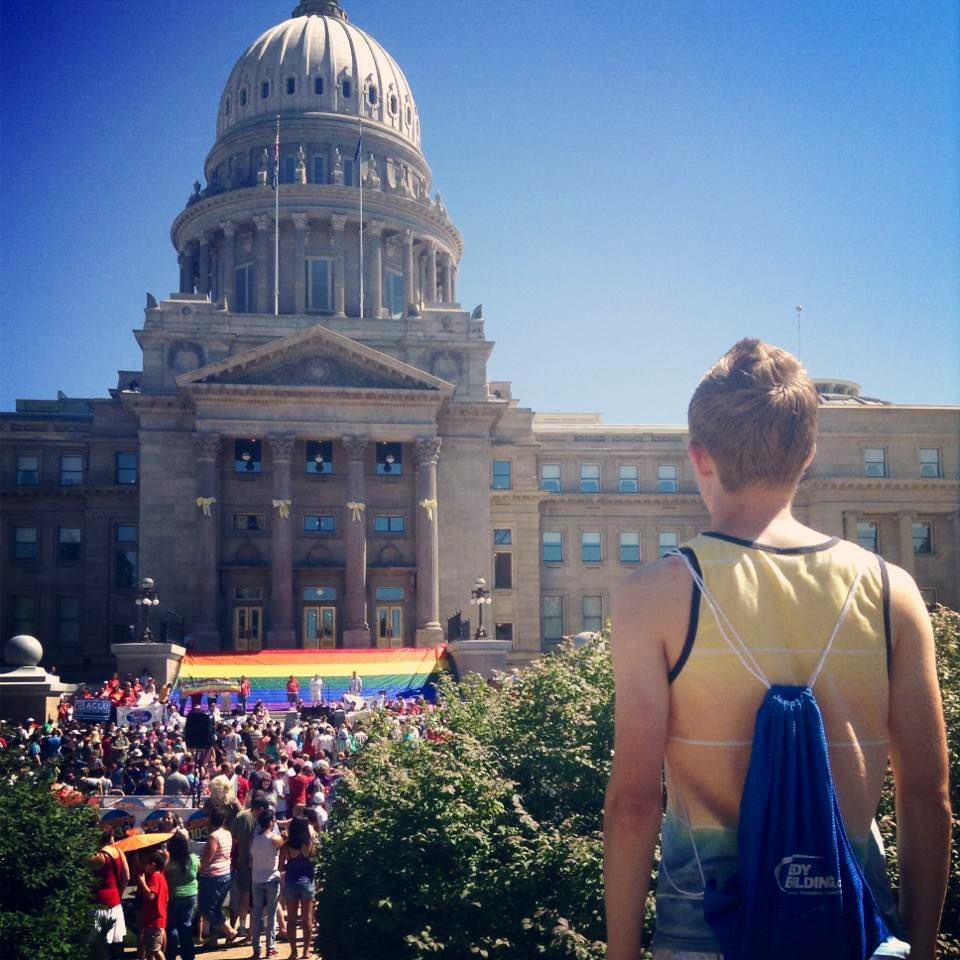 7 years ago little closeted high school me went to my first Pride festival🌈 6 months after this I came out. Such a moment for me! #PrideMonth