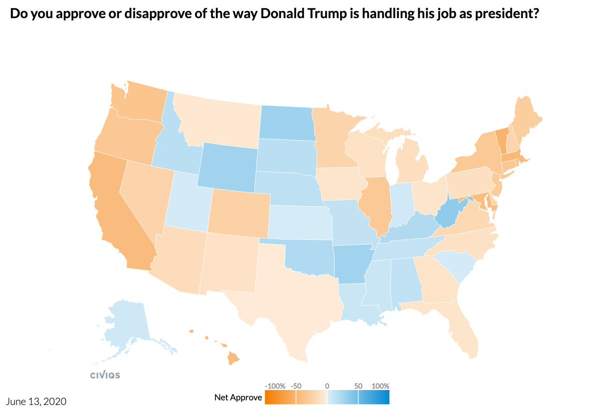 Trump job approval, 6/13/20 via @Civiqs daily survey  National: 41% Approve 55% Disapprove  States, net approval: Louisiana +7 Alaska +5 Indiana +3 South Carolina +2 Utah +2 Kansas +2 Texas -1 Montana -3 Ohio -6 Florida -6 Iowa -6 Georgia -8
