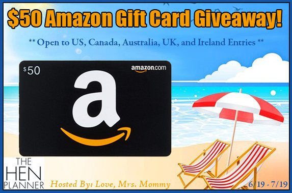 #FREE #MONEY #GIVEAWAY! Enter to #WIN a $50 #AMAZON #Gift Card! Spend it on #Summer goods, #Birthday #presents and more! #shopping #PRIZE #Contest #AmazonGiveaway #GiftCard #FreeMoney #Cash @Love_MrsMommy @TheHenPlanner