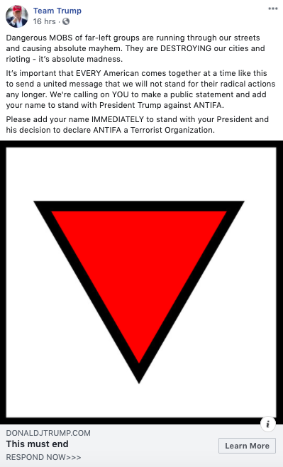 The President of the United States is campaigning for reelection using a Nazi concentration camp symbol.  Nazis used the red triangle to mark political prisoners and people who rescued Jews.  Trump & the RNC are using it to smear millions of protestors.  Their masks are off.