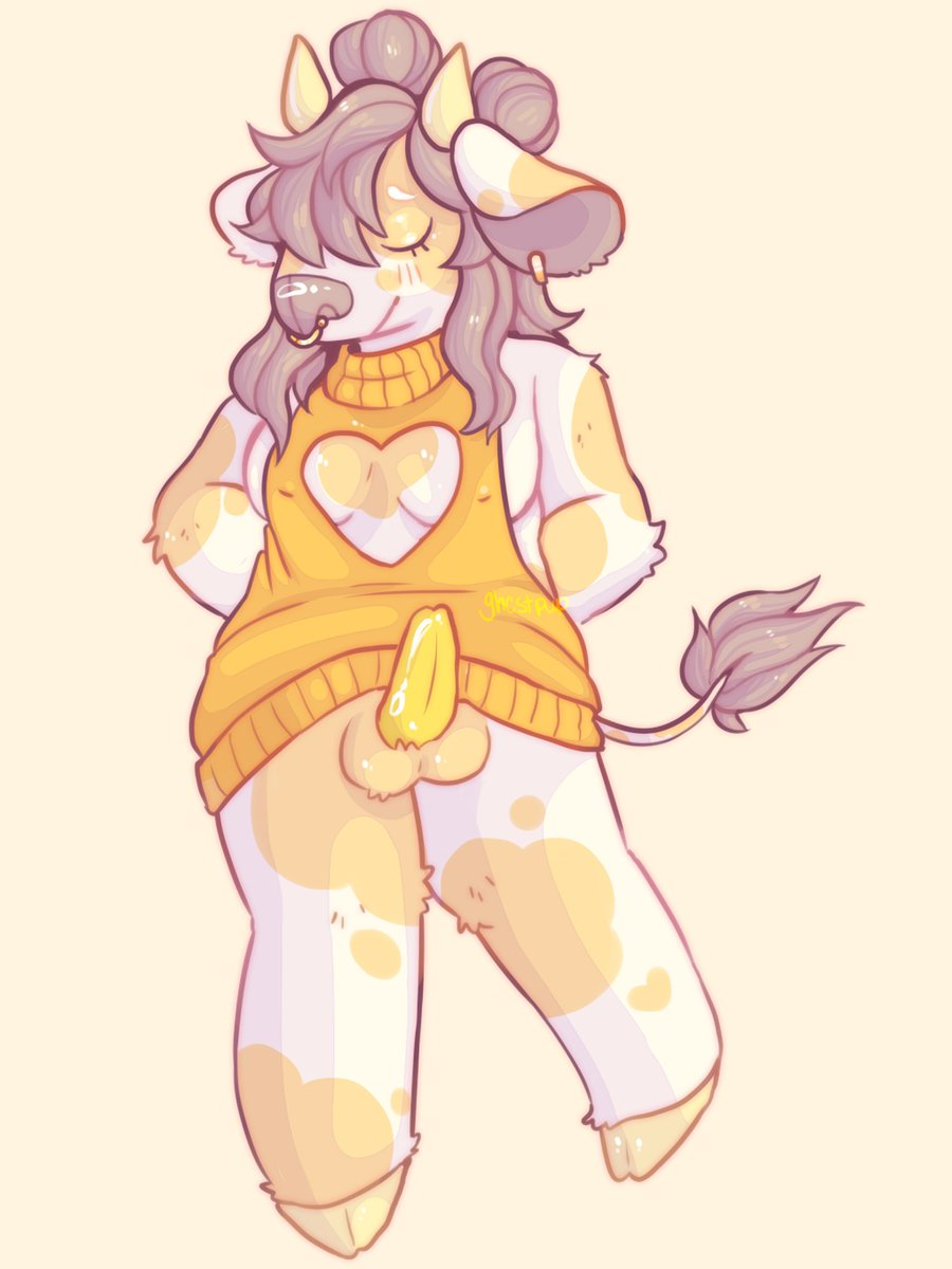 🍌 banana milk! 🍌 virgin killer sweaters are always great >:3c  (she/her)  #art #nsfwart #furry #nsfwfurry #anthro #nsfwanthro #anthrocow #cowfurry