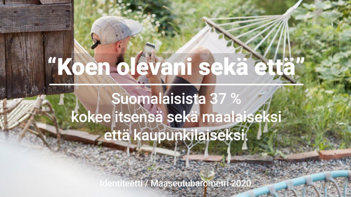 Tiestikö, että #monipaikkaisuus on tärkeä osa suomalaisten aluetyyppi-identiteettiä. 37 % kokee itsensä sekä maalaiseksi että kaupunkilaiseksi.  Ikä erottelee identiteettejä, kertoo @RuralPolicyFIN @LukeFinland @mmm_fi #Maaseutubarometri'2020   Hyvää juhannusta kaikille! https://t.co/Ux8vVFVGJC