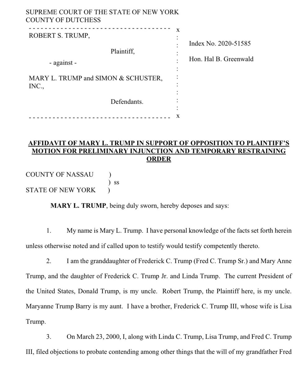 In an affadavit filed in NY Court, Mary Trump says the confidentiality clause she agreed to as part of the settlement agreement with her family does not restrict her from writing a book  She also accusses her family of dramatically undervaluing assets in an effort to defraud her