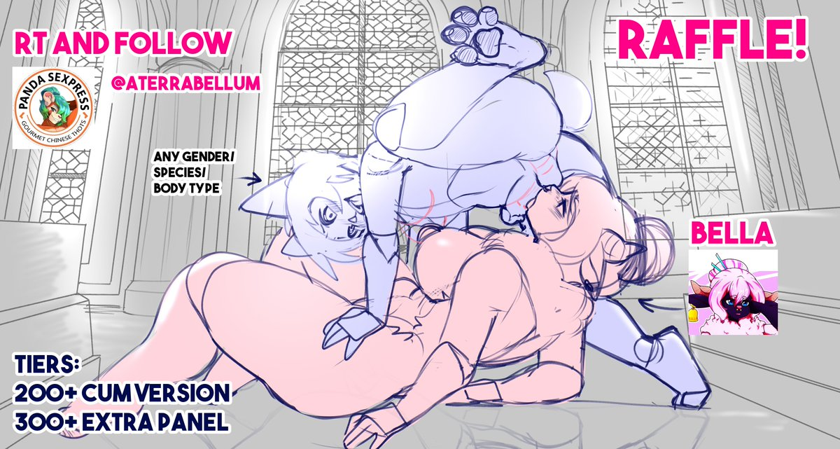 """Due to hitting 69 Followers I am hosting a """"holy"""" raffle!  How to enter: ✨Follow me ✨Retweet this  Winner will be able to have a sexy 69 pose with Bella! At 200 followers an extra cum version will be added, and at 300 an extra panel! Art will be provided by @goat_rice"""